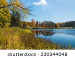 autumn landscape with lake and... | Shutterstock . vector #230344048