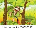 monkey swinging through the...   Shutterstock .eps vector #230356930