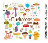 cute cartoon mushrooms with... | Shutterstock . vector #230362750