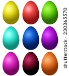 Set Of Colored Easter Eggs On A ...