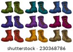 Colourful Boots Set On White