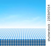 empty picnic table covered with ... | Shutterstock .eps vector #230369314
