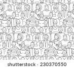 black and white people throng... | Shutterstock . vector #230370550