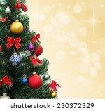 decorated christmas fir tree  | Shutterstock . vector #230372329