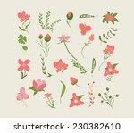 vintage pink floral set | Shutterstock .eps vector #230382610