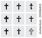 vector black crosses icon set... | Shutterstock .eps vector #230386810