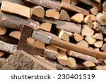 a pile of woods . firewood with ... | Shutterstock . vector #230401519