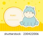 Stock vector baby shower card with hippo 230422006