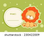 Stock vector baby shower card with lion 230422009