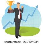 businessman is holding trophy...   Shutterstock .eps vector #230424034