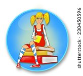 girl siting on the book pile | Shutterstock .eps vector #230450596