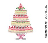 Wedding cake made of cupcakes on tiers. - stock vector