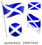 scottish flag on a pole  badge... | Shutterstock .eps vector #230471410