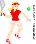 young woman playing tennis | Shutterstock .eps vector #230494846