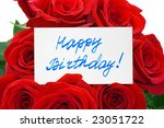 roses and card happy birthday ... | Shutterstock . vector #23051722