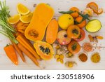 Orange vegetables and fruit