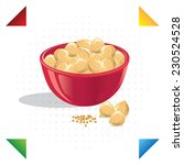 illustration of nuts in a bowl | Shutterstock .eps vector #230524528