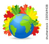 planet earth with the autumn... | Shutterstock .eps vector #230569438