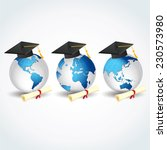 globes with graduation caps and ... | Shutterstock .eps vector #230573980