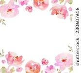 tropical watercolor flower... | Shutterstock . vector #230607658