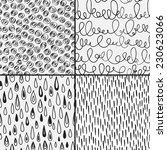 Set of abstract doodles with doodles, circles, drops and strores. Black and white colors. Seamless pattern can be used for wallpaper, pattern fills, web page background,surface textures.