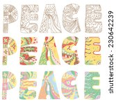 colorful peace letters in three ... | Shutterstock .eps vector #230642239