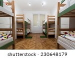 Stock photo interior of a bedroom in hostel 230648179