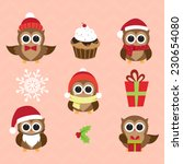christmas and new year's owls... | Shutterstock .eps vector #230654080