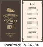wine list with a bunch of grapes | Shutterstock .eps vector #230663248