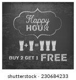happy hour hand drawn design on ... | Shutterstock .eps vector #230684233