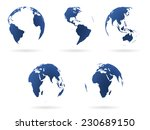 set of transparent earth globes.... | Shutterstock .eps vector #230689150