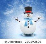 Snowman On Snowy Background....