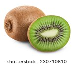 Kiwi Fruit Isolated On White...