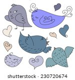 a set of blue funny cute drawn... | Shutterstock .eps vector #230720674