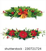 christmas garlands on white....