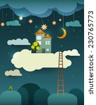 abstract paper cut fantasy home ... | Shutterstock .eps vector #230765773