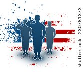 saluting soldiers silhouette on ... | Shutterstock .eps vector #230781373