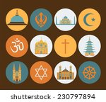 religion icon set. vector... | Shutterstock .eps vector #230797894