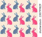 rabbit easter seamless pattern. ... | Shutterstock .eps vector #230799829
