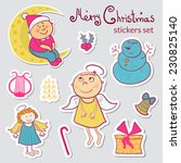 set of christmas stickers in... | Shutterstock .eps vector #230825140