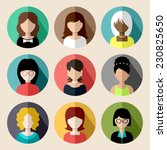 set of round flat icons with... | Shutterstock .eps vector #230825650