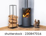Modern Burning Stove Next To A...