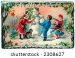 children building a snowman  ... | Shutterstock . vector #2308627
