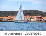 yacht sailing near the coast of ... | Shutterstock . vector #230870050