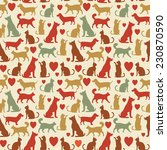 Stock vector vector seamless pattern with cats and dogs 230870590