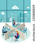 office workers sitting at their ... | Shutterstock .eps vector #230888839