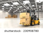 forklift truck in warehouse or... | Shutterstock . vector #230908780