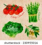 vegetables set drawn watercolor ...   Shutterstock .eps vector #230955016