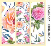 floral cards on yellow...   Shutterstock .eps vector #230959384