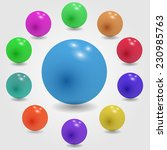set of glossy colored balls on... | Shutterstock .eps vector #230985763